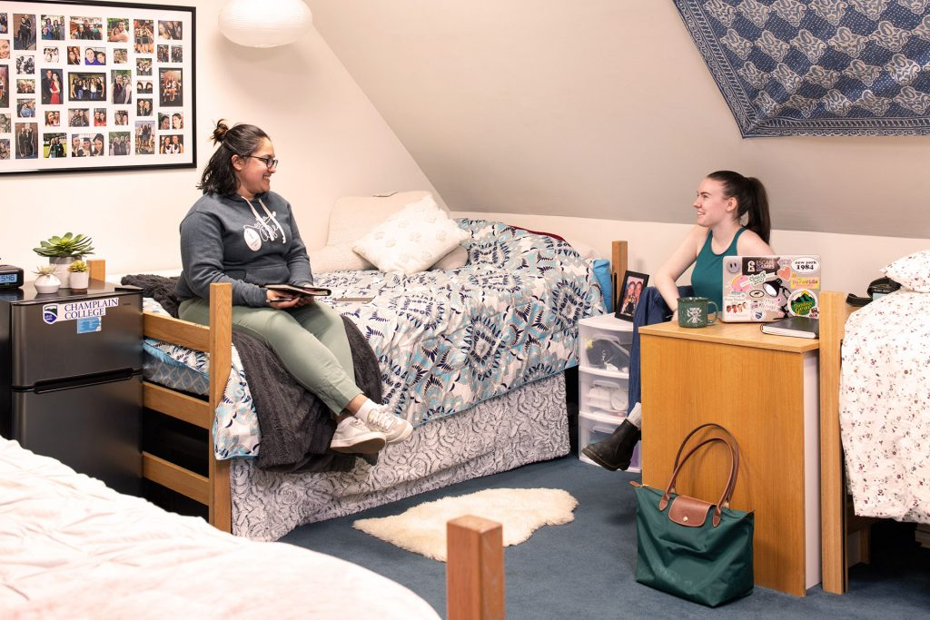 Students in their residence hall at Champlain College