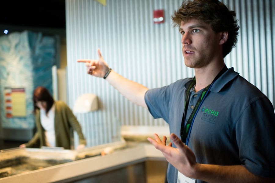 A Champlain student interns and teaches visitors about Lake Champlain aquatic life at The ECHO Leahy Center for Lake Champlain.